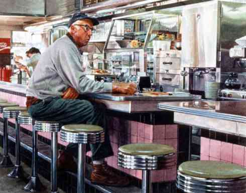 diner with pink tile