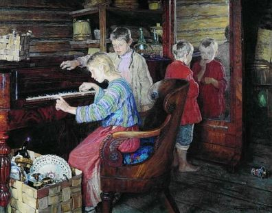 children at piano